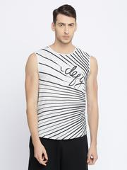 White and black all over front print sleeveless Tshirt