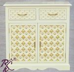 Solid Wood Brass Bakhra Sideboard With Two Doors & Two Drawers